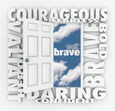 Brave Courage Daring Word Door Open to Success. Brave and related words on a 3d white door opening to success, including terms like daring, courageous, valiant Stock Photos