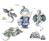 The brave cute little knight and set dragon. Fairytall collection Hand drawn watercolor cartoon set for kid greeting