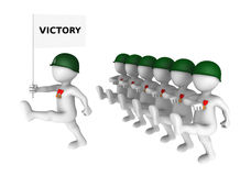 Brave 3d soldiers march on parade with victory flag. Stock Photo