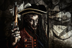Brave dead pirate. Portrait of a noble brave dead pirate. Zombie pirate. Halloween royalty free stock photos