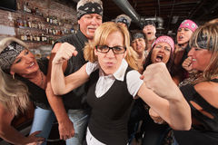 Brave Female Nerd with Biker Gang Stock Photography