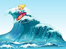 A brave female surfer. Illustration of a brave female surfer stock illustration