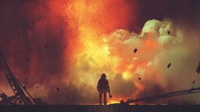 Brave firefighter facing the explosion. Brave firefighter with axe standing in front of frightening explosion, digital art style, illustration painting Royalty Free Stock Images