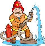 Brave firefighter Stock Image