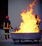 Brave firefighters during the exercise for the fire extinguishin Stock Image