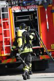 Brave firefighters with oxygen tank fire during an exercise held Royalty Free Stock Image
