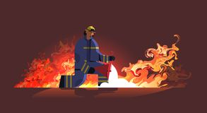 Free Brave Fireman Holding Red Buckets With Sand Firefighter Extinguishing Fire Firefighting Emergency Service Concept Orange Stock Images - 167065384