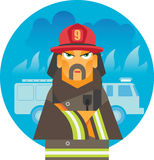 Brave fireman standing near fire engine Royalty Free Stock Photography