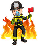 A brave fireman. On a white background Stock Image