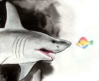Brave fish and big shark. Ink and watercolor illustration of a brave colorful tropical fish and big grey shark. ink and watercolor illustration Stock Photos