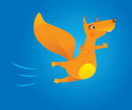 Brave flying cartoon squirrel Royalty Free Stock Photo