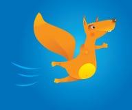 Brave flying cartoon squirrel. Vector illustration stock illustration