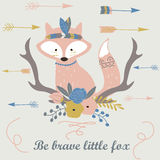 Brave fox. Vector illustration of cute Indian fox with feathers and arrows in cartoon style. Be brave little fox poster vector illustration