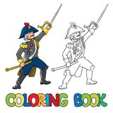 Brave general or officer with sword. Coloring book Stock Image