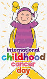 Brave Girl in Doodle Style for Childhood Cancer Day Celebration, Vector Illustration Stock Photos