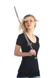 Brave girl with katana Stock Image