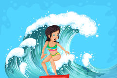 A brave girl surfing Royalty Free Stock Photo