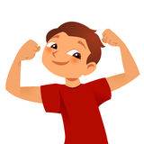 Brave kid. Brave strong kid showing his big muscles Stock Images
