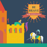 Brave knight and princess in trendy flat style Stock Photo