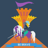 Brave knight in trendy flat style Royalty Free Stock Images