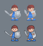Brave Little Knight. Cartoon young boy as a little knight, holding sword and shield Stock Image
