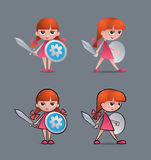 Brave Little Knight. Cartoon young girl as a little knight, holding sword and shield Stock Images