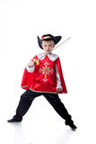 Brave Little Musketeer, Isolated On White Royalty Free Stock Photos