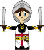 Brave Medieval Cartoon Crusader Knight. Vector Illustration of a Cute Cartoon Medieval Crusader Knight with Swords Stock Images