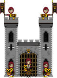 Brave Medieval Knights at Castle. Vector Illustration of Cute Little Cartoon Medieval Crusader Knights Guarding the Castle Gate.  An EPS file is also available Stock Photo