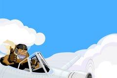 Brave pilot in the retro style Stock Photos