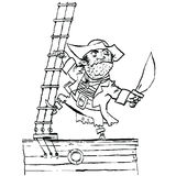 Brave pirate is on Board the ship Royalty Free Stock Image