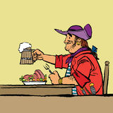 Brave pirate is eating in the tavern. Cartoon hand drawing illustration. Beer and meat Royalty Free Stock Photography
