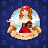 Brave pirate girl with treasure chest Stock Images