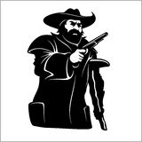 Brave pirate with pistol. Isolated on a white background stock illustration