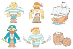 Brave pirates. Vector set of brave pirates and their attributes Royalty Free Stock Photos