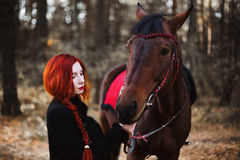 Brave red-haired girl in a black coat with long hair gathered in a braid in the autumn forest. A beautiful stallion strong woman standing next to a horse Stock Image