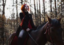 Brave red-haired girl in a black coat and a red dress with long hair gathered in a braid. A woman riding a horse in autumn forest, beautiful strong stallion Royalty Free Stock Images