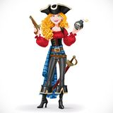Brave red-haired pirate girl holding a bomb with lit fuse Stock Photography