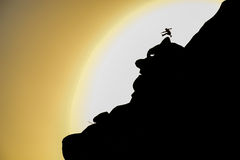 Brave on the rocks, jump summit. Rocky and landscape concept;Brave on the rocks, jump summit Stock Image