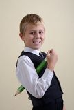 Brave schoolboy with pencil Royalty Free Stock Photography