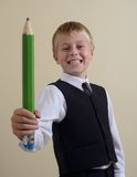 Brave schoolboy with pencil Stock Photo