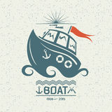 Brave small boat. Illustration of a small boat in flat style Stock Photos
