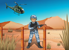 A brave soldier in the battlefield. Illustration of a brave soldier in the battlefield Stock Images