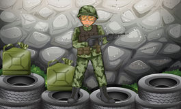 A brave soldier hiding behind the stonewall. Illustration of a brave soldier hiding behind the stonewall Royalty Free Stock Image