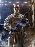 Brave special forces soldier is posing on camera Royalty Free Stock Image