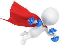 Brave superhero flying with dumbbells Stock Image