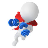 Brave superhero flying with dumbbells. Man brave superhero with red cloak and two dumbbells flying forward.  on white 3d render Stock Photography