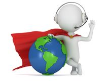 Brave superhero in headpones and world sphere Stock Images