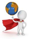 Brave superhero hold world on pointing finger Stock Photography