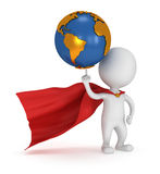 Brave superhero hold world on pointing finger Royalty Free Stock Photo